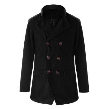 Trendy Slimming Stand Collar Long Sleeves Double-Breasted Design Color Splicing Men's Woolen Overcoat - BLACK BLACK
