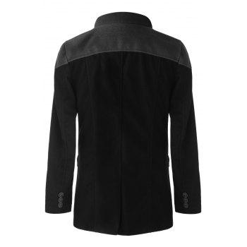 Trendy Slimming Stand Collar Long Sleeves Double-Breasted Design Color Splicing Men's Woolen Overcoat - 3XL 3XL