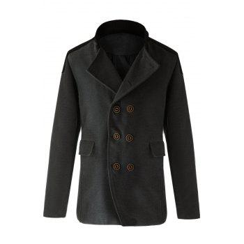 Trendy Slimming Stand Collar Long Sleeves Double-Breasted Design Color Splicing Men's Woolen Overcoat - GRAY GRAY