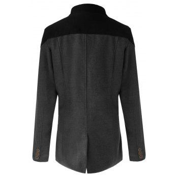 Trendy Slimming Stand Collar Long Sleeves Double-Breasted Design Color Splicing Men's Woolen Overcoat - GRAY 2XL