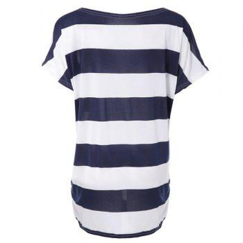Stylish Scoop Neck Short Sleeve Striped  T-Shirt For Women - ONE SIZE ONE SIZE