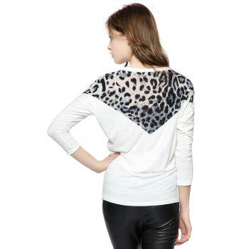 Korean Fashion and Mix-Matched Style Leopard Print Embellished Loose Bat-Wing Sleeves T-shirt For Women - WHITE FREE SIZE