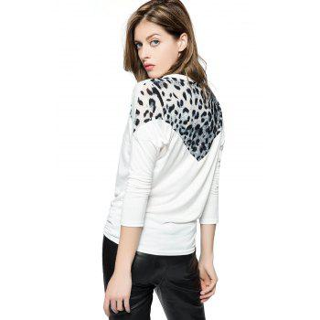 Korean Fashion and Mix-Matched Style Leopard Print Embellished Loose Bat-Wing Sleeves T-shirt For Women - FREE SIZE FREE SIZE