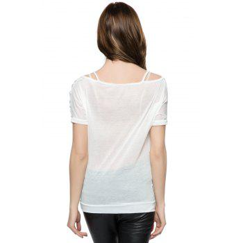 Off the Shoulder Women's Summer Blouse - WHITE ONE SIZE