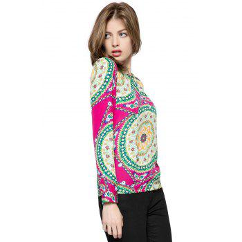 Ladylike Women's Chiffon Shirt With Round Neck Floral Print Long Sleeve Design - ONE SIZE ONE SIZE
