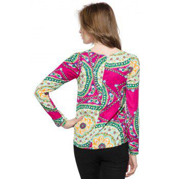 Ladylike Women's Chiffon Shirt With Round Neck Floral Print Long Sleeve Design - ROSE ROSE