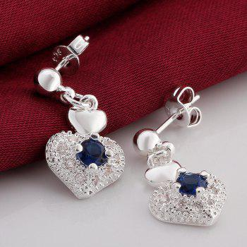 Rhinestone Embellished Heart Shape Earrings - SILVER