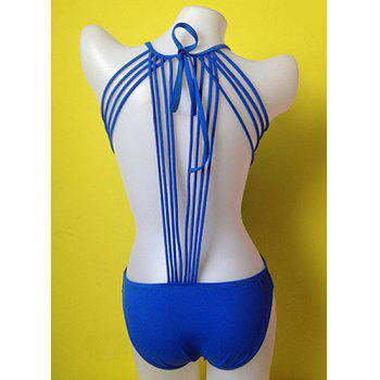 Sexy Scoop Collar Backless Lace-Up Solid Color One-Piece Women's Swimwear - SAPPHIRE BLUE SAPPHIRE BLUE