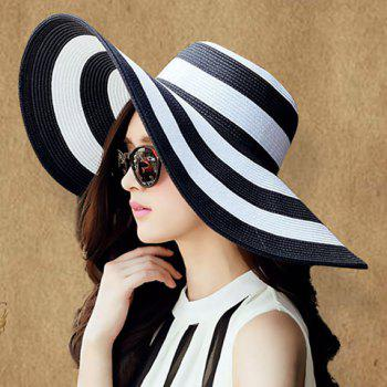 Fashionable Wide Brim Black and White Striped Pattern Sun Hat For Women