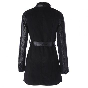 Stylish Stand-Up Collar Long Sleeve Spliced Zippered Women's Coat - BLACK M