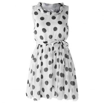 Women's Graceful Polka Dot Print Pleated Sleeveless Chiffon Dress
