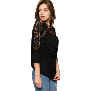 Fashionable Scoop Collar Nine-Minute Sleeve Lace Splicing Women's Blouse - BLACK BLACK