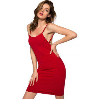 Backless Spaghetti Straps Bodycon Dress - RED RED