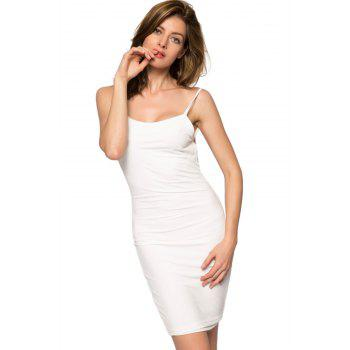 Backless Spaghetti Straps Bodycon Dress - WHITE WHITE
