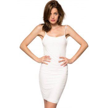 Backless Spaghetti Straps Bodycon Dress - WHITE XL