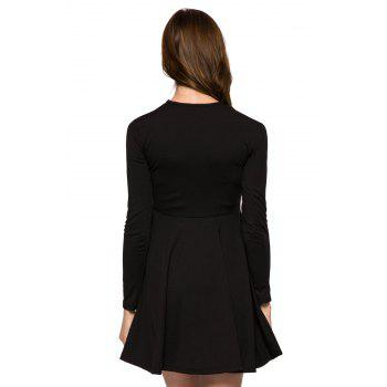Fashionable Round Collar Long Sleeve Voile Splicing Black A-Line Women's Dress - BLACK BLACK