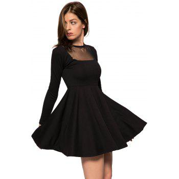 Fashionable Round Collar Long Sleeve Voile Splicing Black A-Line Women's Dress - BLACK L