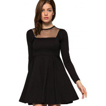 Fashionable Round Collar Long Sleeve Voile Splicing Black A-Line Women's Dress
