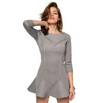 Trendy Style Round Collar 3/4 Sleeve Solid Color Ruffles Splicing Women's Dress - GRAY GRAY