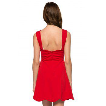 Fashionable Straps Square Neck Solid Color Wavy Hem A-Line Women's Sundress - RED RED