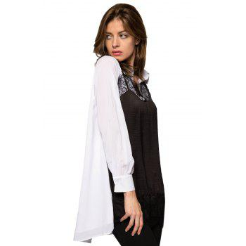 Stylish Turn-Down Collar Long Sleeve Lace Splicing Color Block Women's Dress - WHITE/BLACK WHITE/BLACK