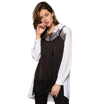 Stylish Turn-Down Collar Long Sleeve Lace Splicing Color Block Women's Dress - M M