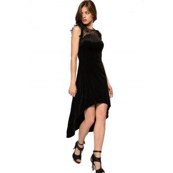 Fashionable Round Collar Sleeveless Lace Splicing High-low Hem Women's Dress - L L
