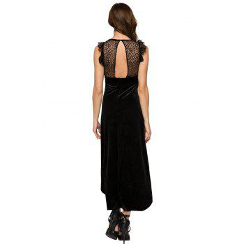Fashionable Round Collar Sleeveless Lace Splicing High-low Hem Women's Dress - 2XL 2XL
