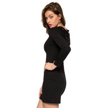 Fashionable Scoop Collar Long Sleeve Black Hollow Back Slimming Women's Dress - BLACK BLACK