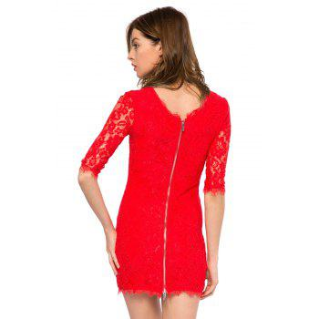 Trendy Style Scoop Collar 3/4 Sleeve Solid Color Slimming Women's Lace Dress - RED 2XL
