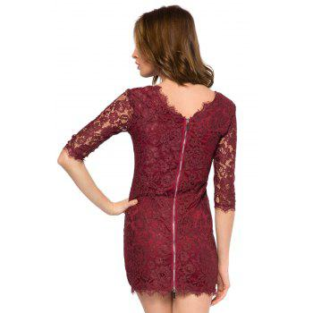 Trendy Style Scoop Collar 3/4 Sleeve Solid Color Slimming Women's Lace Dress - DEEP PURPLE XL