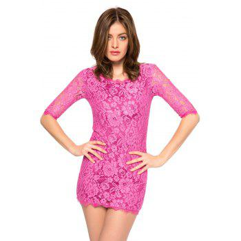 Trendy Style Scoop Collar 3/4 Sleeve Solid Color Slimming Women's Lace Dress - PURPLE XS