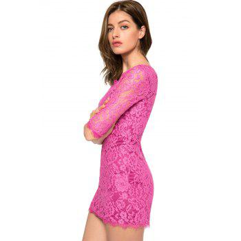 Trendy Style Scoop Collar 3/4 Sleeve Solid Color Slimming Women's Lace Dress - PURPLE S