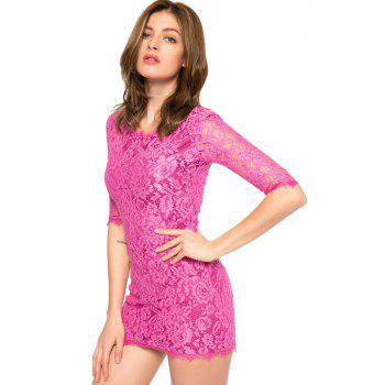 Trendy Style Scoop Collar 3/4 Sleeve Solid Color Slimming Women's Lace Dress - M M