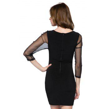 Sexy Style Round Collar Long Sleeve Hollow Out Splicing Women's Bodycon Dress - BLACK XL