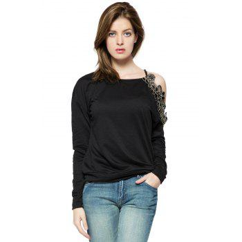 Stylish Round Collar Long Sleeve Floral Embroidery Off-The-Shoulder Women's Sweatshirt