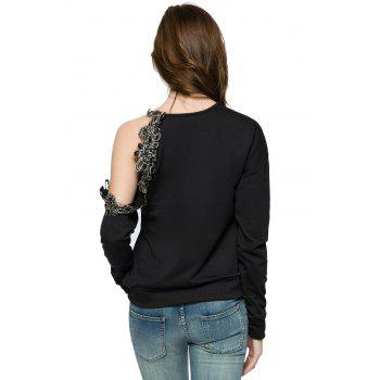 Stylish Round Collar Long Sleeve Floral Embroidery Off-The-Shoulder Women's Sweatshirt - 2XL 2XL