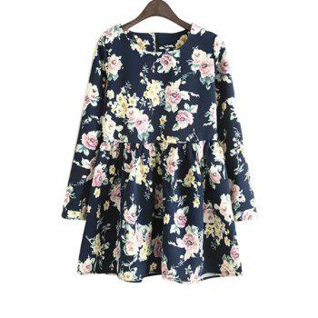 Ladylike Style Scoop Neck Long Sleeve Floral Print Women's Dress
