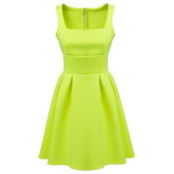 Simple Style Square Collar Sleeveless Solid Color A-Line Women's Dress