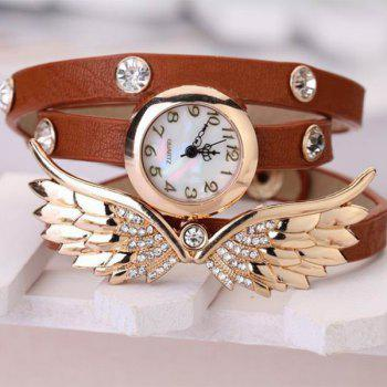 Quartz Wrist Watch Wing Round Dial Leather Watchband for Women - BROWN