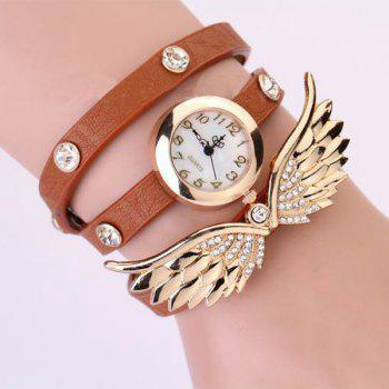 Quartz Wrist Watch Wing Round Dial Leather Watchband for Women