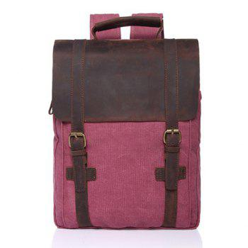 Preppy Color Block and Buckles Design Backpack For Men - RED RED