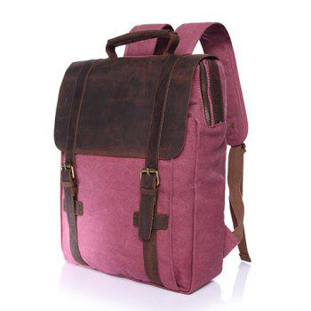 Preppy Color Block and Buckles Design Backpack For Men -  RED