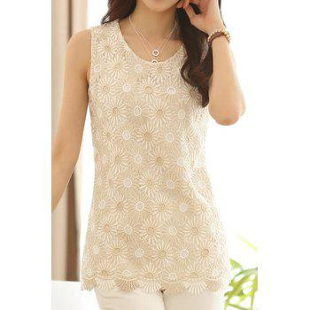 Fashionable Scoop Neck Floral Embroidery Tank Top For Women
