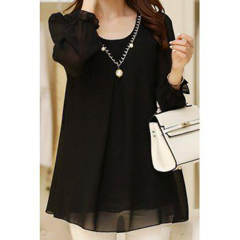 Stylish Solid Color Scoop Neck Loose Long Sleeve Chiffon Blouse For Women