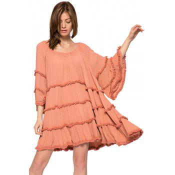 Bohemian Style Flare Sleeve Solid Color Fringe Splicing Women's Dress