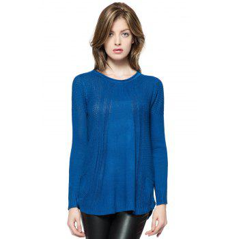 Scoop Collar Solid Color Long Sleeve Cotton Sweater