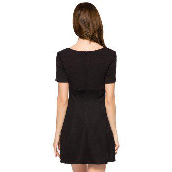 Fashionable V-Neck Short Sleeve Black A-Line Women's Dress - BLACK S