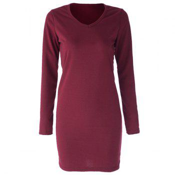 Simple Style V-Neck Cotton Packet Buttock Solid Color Long Sleeve Women's Dress - ONE SIZE ONE SIZE