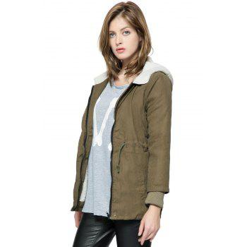New Cotton-padded Thicken Berber Fleece Coat Frock Overcoat - ARMY GREEN ONE SIZE